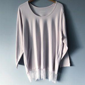 Soft Surroundings Pale Pink Tunic Lace Bottom 3X